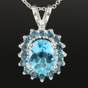 EFFY / 3.14 CT AAA Blue Topaz Necklace / 14K Gold